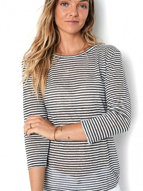 BLAUMAX T-Shirt Lina Grey/White Stripe | Artikelnummer:lina 9024
