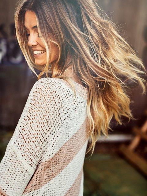BLAUMAX Trui Viola Stripe Nude/White | Artikelnummer:viola 5054