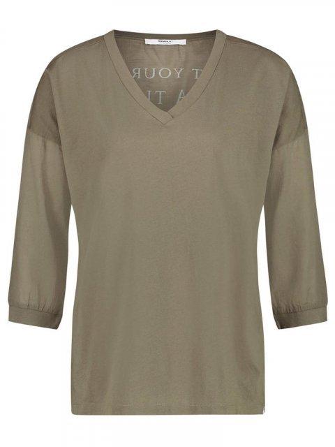 PENN & INK Shirt print Khaki/Foggy | Artikelnummer:S20F708 khaki/fog