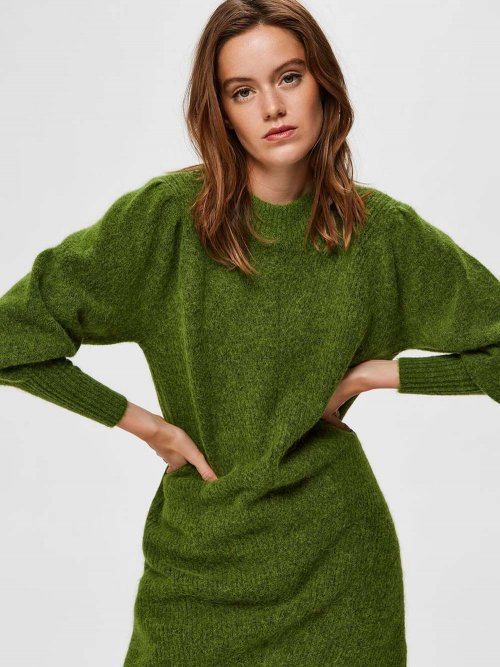 SELECTED FEMME Jurk Knitted Linna Twist of Lime | Artikelnummer: 16075569 t.o.lime