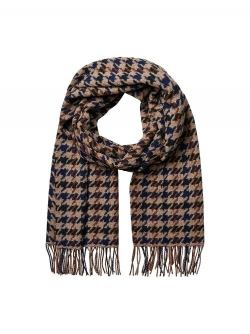 SELECTED FEMME Sjaal Time Wool Check Coffee Bean | Artikelnummer: 16066780 coffeebean