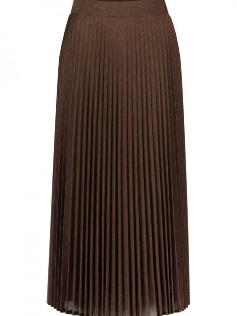 SIMPLE Rok Rebbel Pleated Lurex Chocolate | Artikelnummer:rebbel chocolate