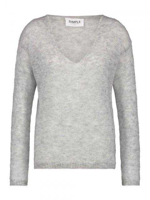 SIMPLE Trui Vince Fine Knit Grey mel. | Artikelnummer:vince grey mel