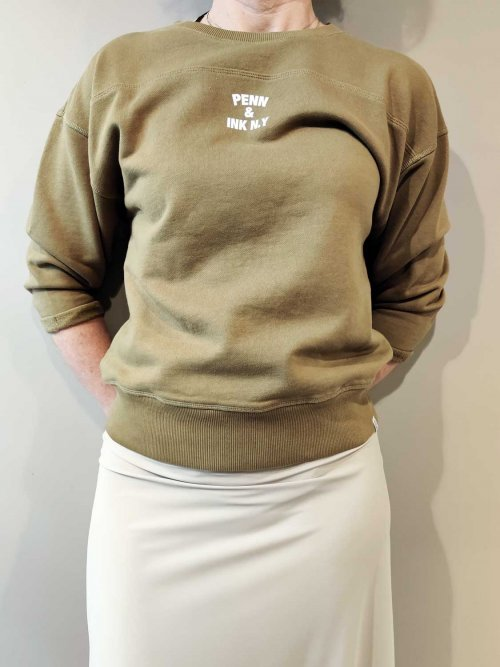 PENN-&-INK-Sweater-Print-Olive -White-S21T563-410-01