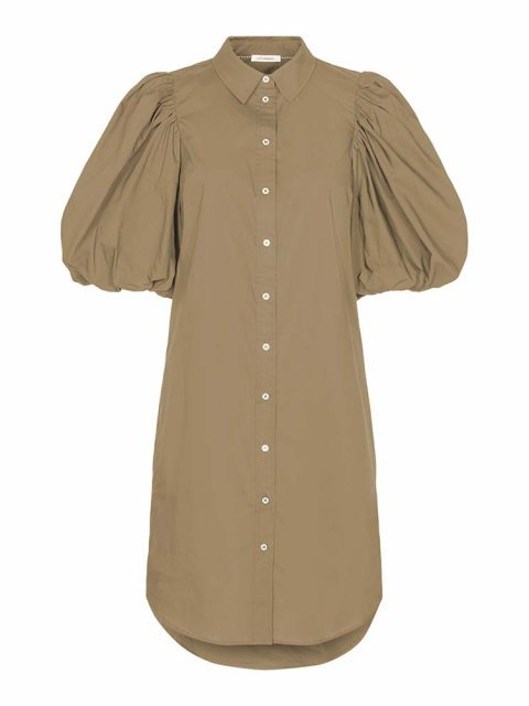CO'COUTURE Jurk Collie Puff Sleeve Khaki | Artikelnummer: 96404 16