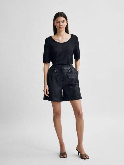 SELECTED FEMME T-shirt Linen Black | Artikelnummer:16079542 black 3