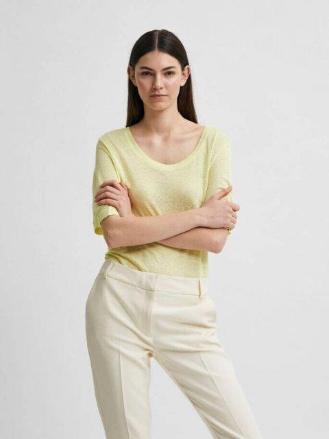 SELECTED FEMME T-shirt Linen Young Wheat | Artikelnummer:16079542 young wheat