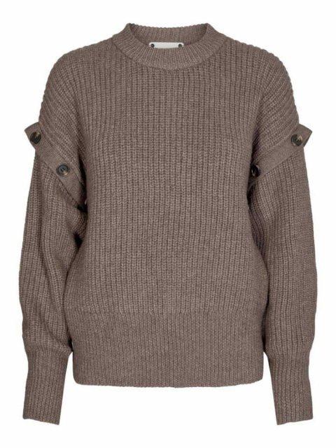 CO'COUTURE Trui Rowie Button Walnut | Artikelnummer:92055 154