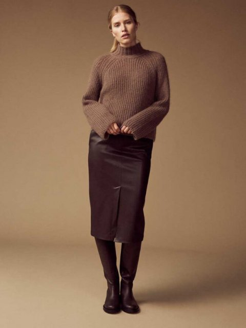 FEMMES du SUD Rok Ninette Vegan Leather Dark Brown | Artikelnummer:ninette d.brown